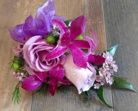 Corsage in Lavender, Purple and Green