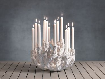 Cayo Coral Polyresin Taper Candle Holder, Zodax, 12-Tier