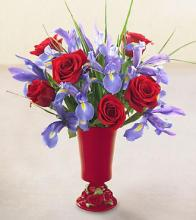 A Touch of Elegance Rose and Iris Vase
