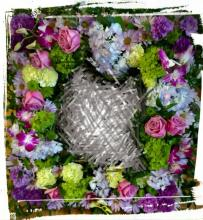 Square Wreath, lavender tones