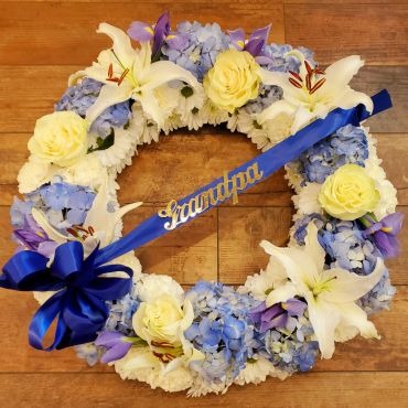 Blue & White Wreath with Hydrangea, Rose and Lily